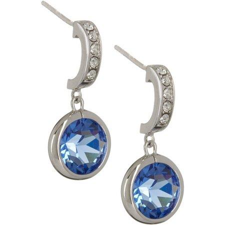 Crystal Elements Blue Post Channel Drop Earrings