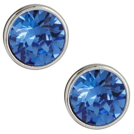 Crystal Elements Blue Bezel Crystal Stud Earrings