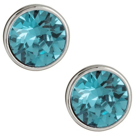 Crystal Elements Aqua Bezel Crystal Stud Earrings