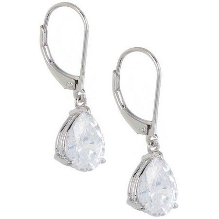 Silver Brilliance CZ Pear Drop Leverback Earrings