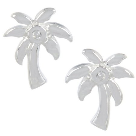 Silver Brilliance Palm Tree Stud Earrings
