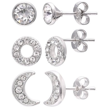 Crystal Elements CZ Circle Moon Trio Earring Set