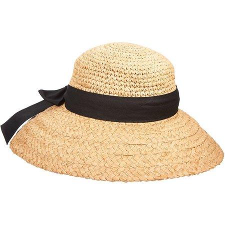 Scala Womens Hand Crocheted Seagrass Straw Sun Hat