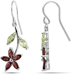 Amour 2 7/8-ct. Garnet Flower Charm Earrings