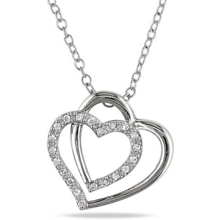 Amour 1/10-ct. T.W. Diamond Dual Heart Necklace