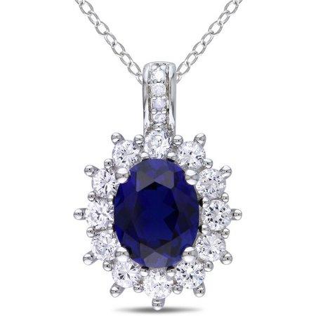 Amour 4-ct. Round Blue Sapphire Pendant