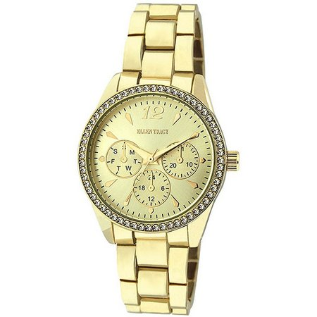 Ellen Tracy Womens Gold Tone Chrono Details Watch
