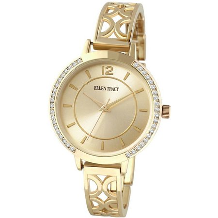 Ellen Tracy Gold Tone Filigre Open Cuff Watch