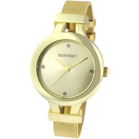 Ellen Tracy Womens Contemporary Mesh Gold Tone Watch