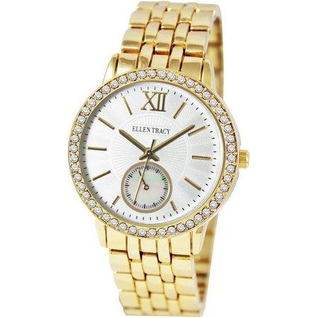 Ellen Tracy Womens Rhinestone Bracelet Watch