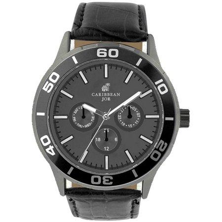 Caribbean Joe Mens Grey & Black Strap Watch