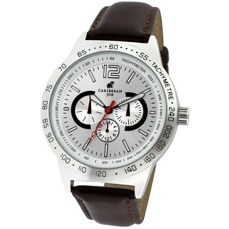 Caribbean Joe Mens Sunray Dial Brown Strap Watch