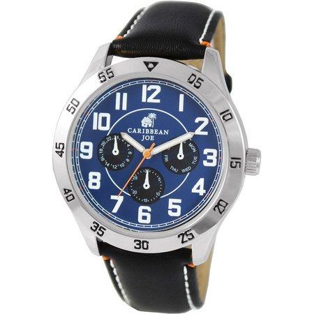 Caribbean Joe Mens Blue Face Black Strap Watch