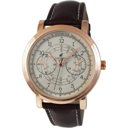 Caribbean Joe Mens Rose Gold Tone Brown Strap