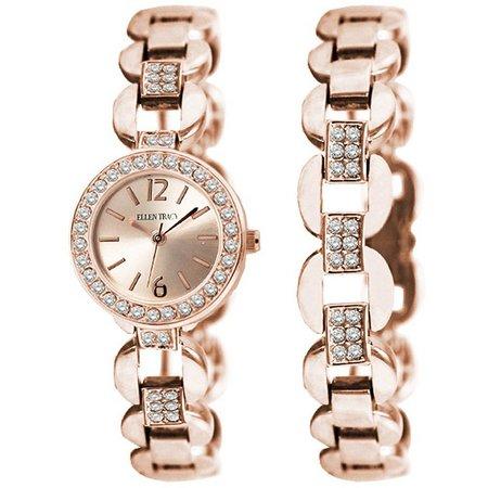 Ellen Tracy Rose Gold Tone Watch/Bracelet Set