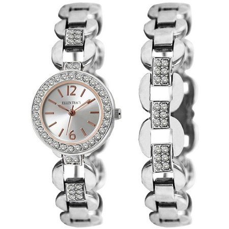 Ellen Tracy Silver Tone Watch & Bracelet Set