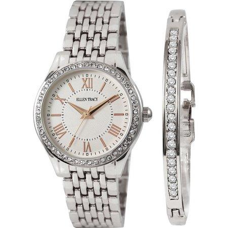 Ellen Tracy Silver Tone Watch/Bracelet Set