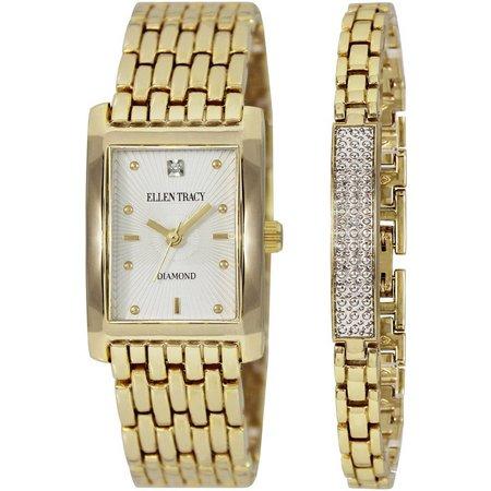 Ellen Tracy Gold Tone Square Watch/Bracelet Set