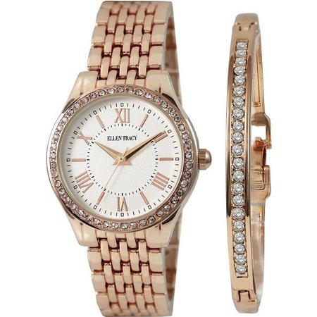 Ellen Tracy Roman Diamond Watch/Bracelet Set