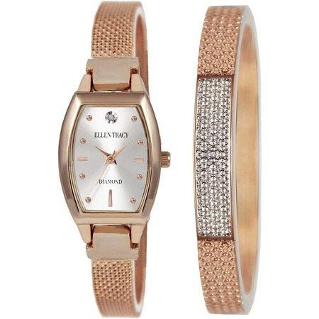 Ellen Tracy Oblong Watch/Bracelet Set