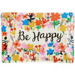 Natural Life Be Happy Glass Tray