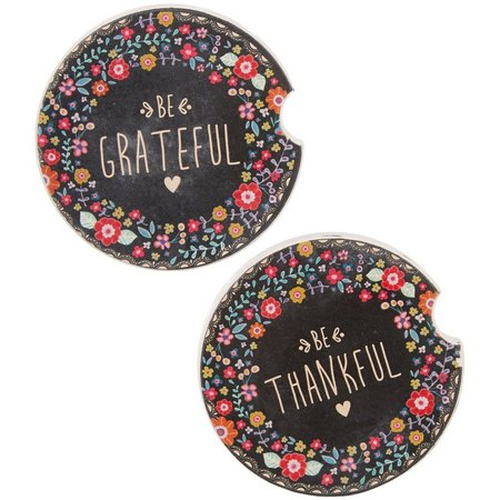 Natural Life Thankful Grateful Coaster Set