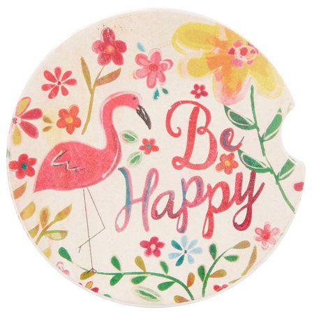 Natural Life Be Happy Flamingo Car Coaster