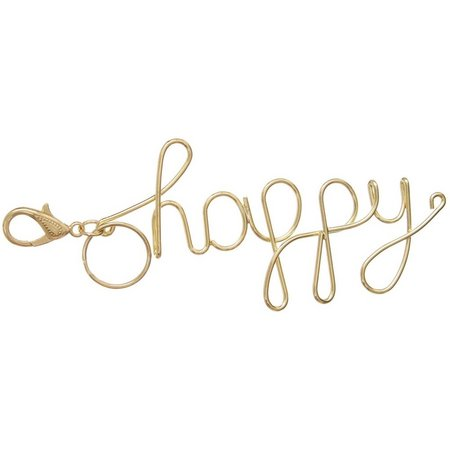 Natural Life Happy Metal Wire Keychain