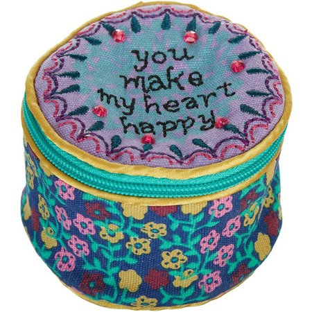 Natural Life Heart Happy Round Jewelry Pouch