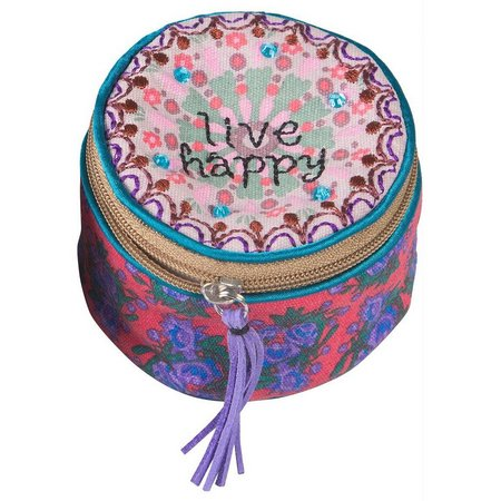 Natural Life Live Happy Round Jewelry Case