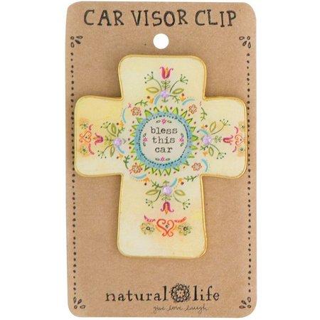 Natural Life Bless This Car Visor Clip
