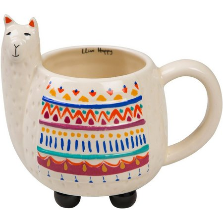 Natural Life Live Happy Llama Mug