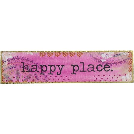 Natural Life Happy Place Wood Sign
