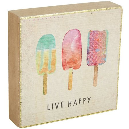 Natural Life Live Happy Bungalow Box Sign