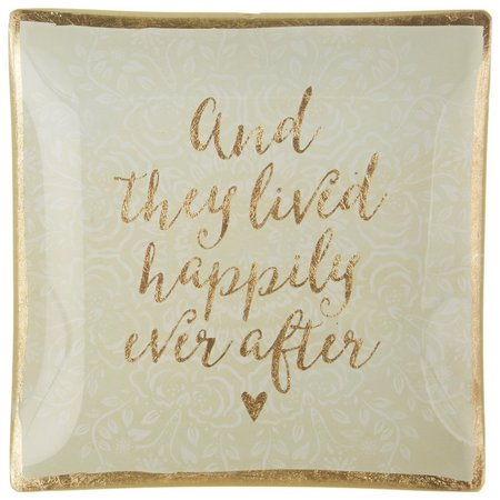 Natural Life Happily Ever After Square Glass Tray