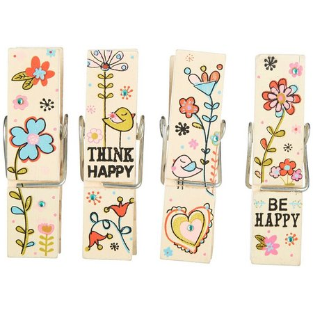 Natural Life Flowers & Birds Happy Chip Clips