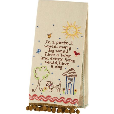Natural Life Dog Embroidered Linen Hand Towel