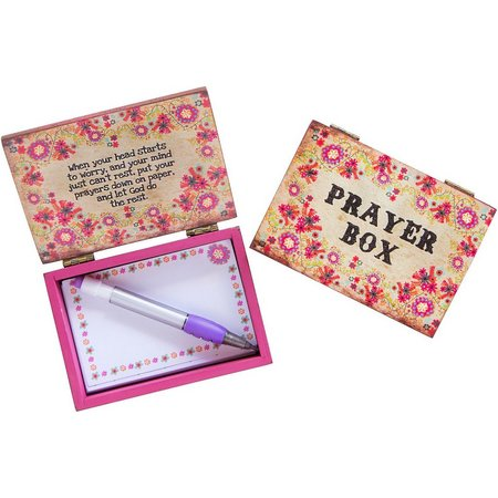Natural Life Pink Floral Notepad & Prayer Box