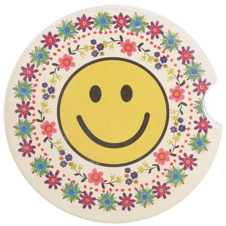 New! Natural Life Folk Smiley Face Car Coaster