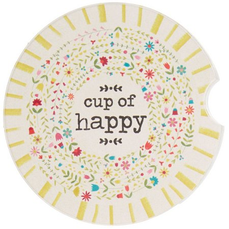 New! Natural Life Cup Of Happy Car Coaster