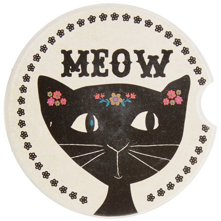 New! Natural Life Cat Meow Car Coaster