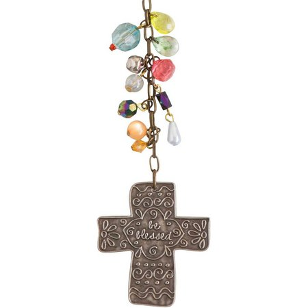 Natural Life Be Blessed Metal Cross Car Charm