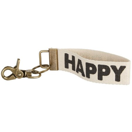 Natural Life Happy Canvas Keychain