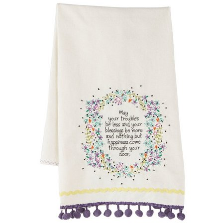 Natural Life Blessings Be More Linen Hand Towel
