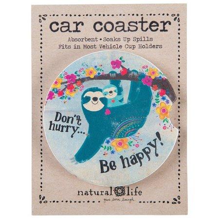 Natural Life Sloth Be Happy Car Coaster