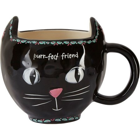Natural Life Folk Art Black Cat Mug