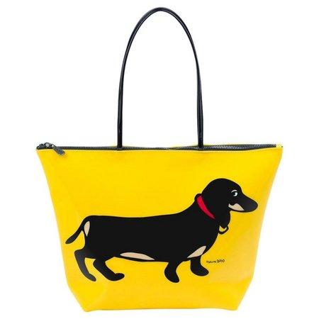 Marc Tetro Dachshund Yellow Tote Handbag