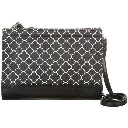 Izaro Black & White Top Zip Crossbody Handbag