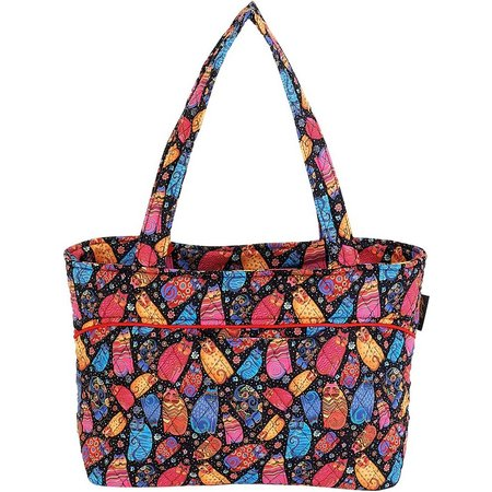 Laurel Burch Quilted Multi Feline Tote Handbag