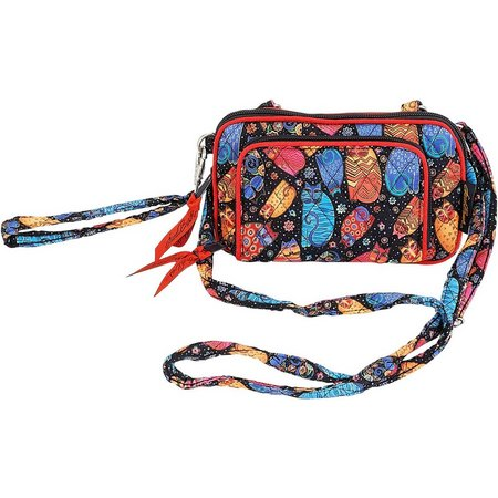 Laurel Burch Feline WS Quilted Crossbody Handbag